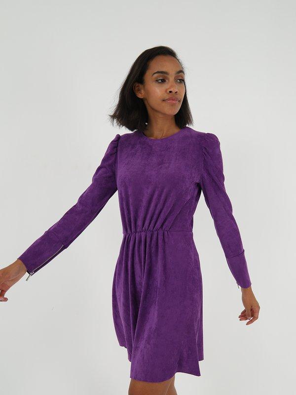 Платье из велюра  цвет: фиолетовый