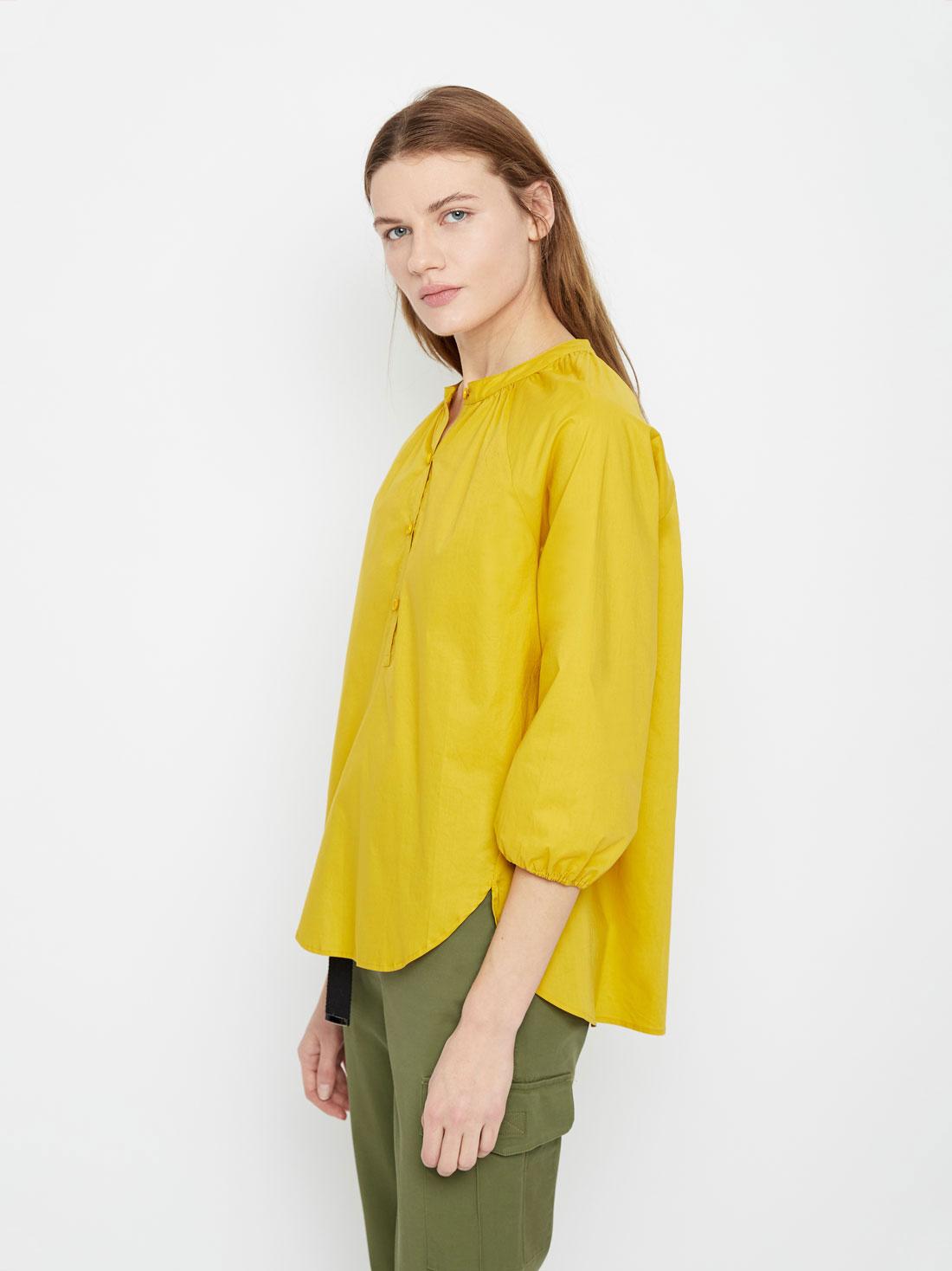 902e4895d0e Ассиметричная блузка из хлопка желтый цвет - Рубашки и блузки LIME