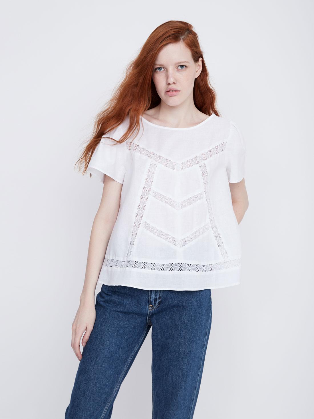 2b77840d26f Блузка с кружевными вставками белый цвет - Рубашки и блузки LIME