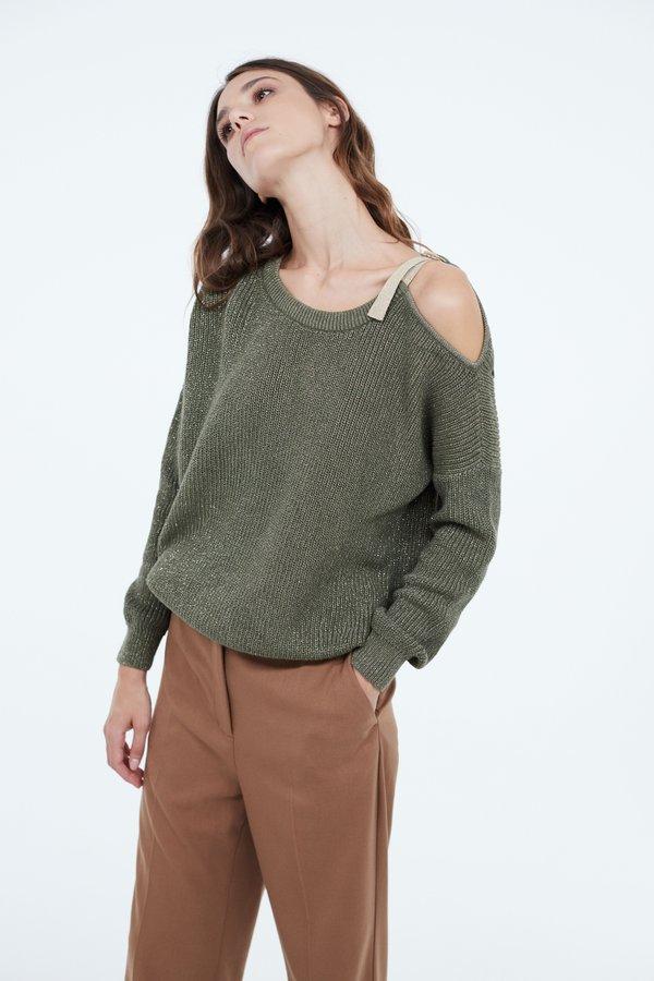 Джемпер с открытым плечом цвет: хаки