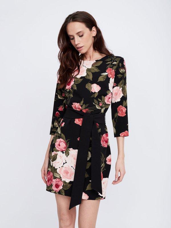 Платье с поясом цвет: черный