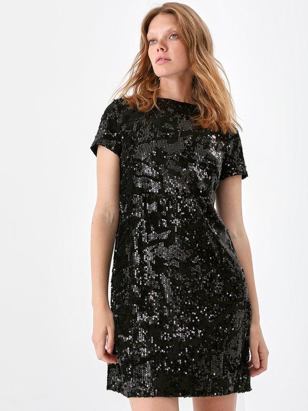 Комбинированное платье из бархата с пайетками
