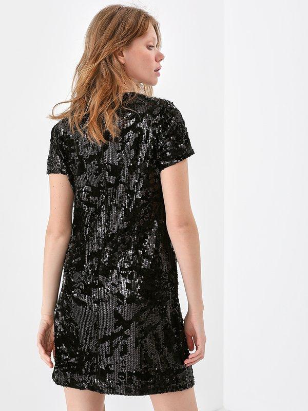 Комбинированное платье из бархата с пайетками вид сзади