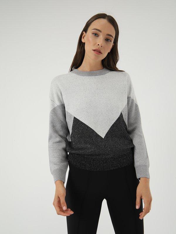 Джемпер с люрексом  цвет: серый меланж