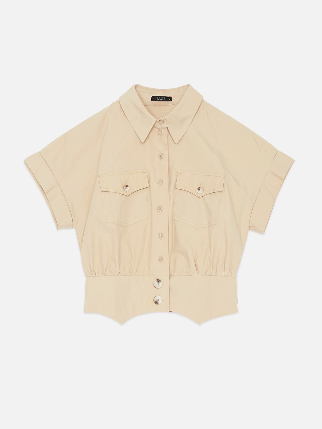Укороченная рубашка на пуговицах