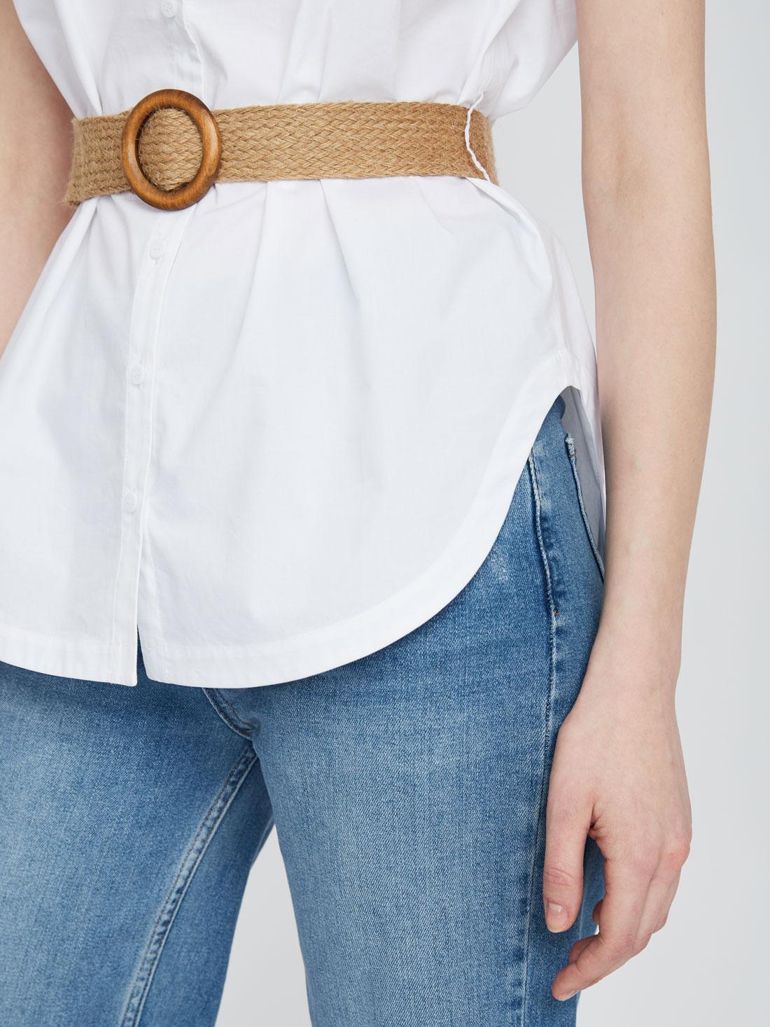 Рубашка из хлопка с поясом