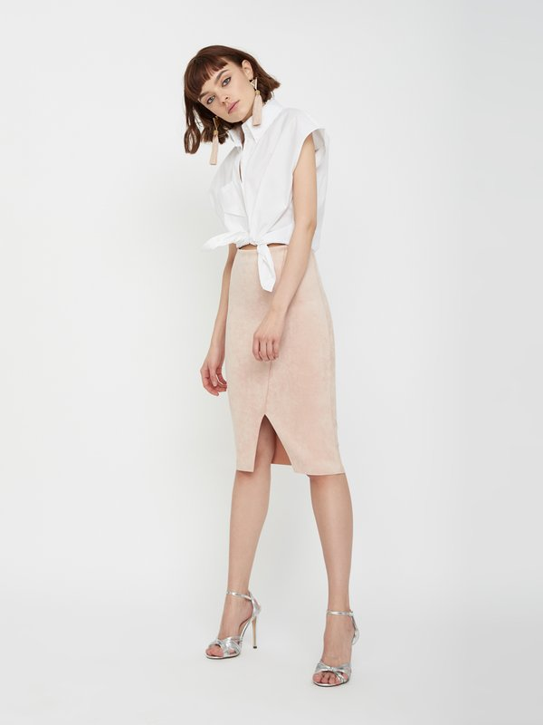 Замшевая юбка-карандаш цвет: пудра