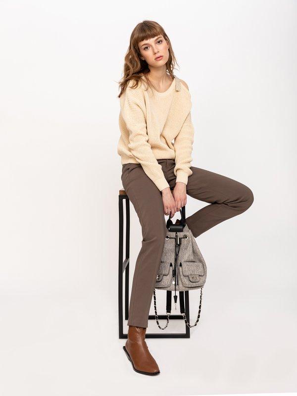 Классические брюки со стрелками цвет: хаки