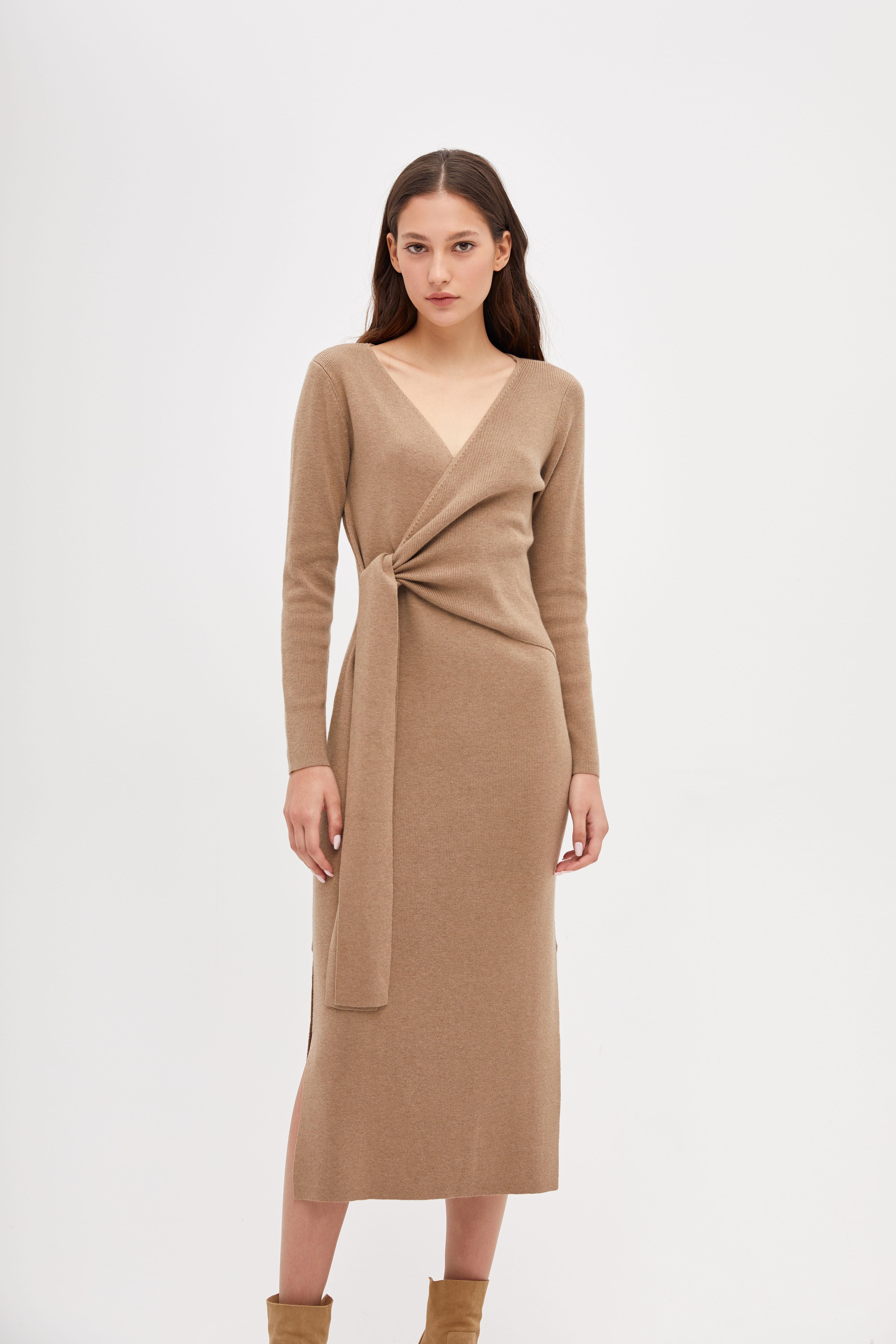 Платье LIME Трикотажное платье с запахом платье длинное с запахом с рисунком coming