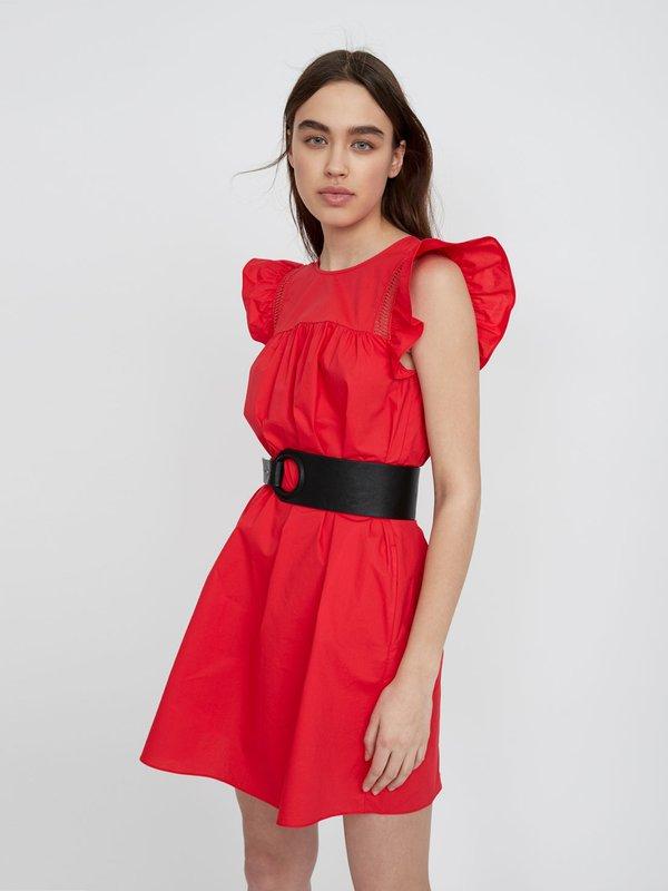 Платье с декоративными воланами цвет: коралловый