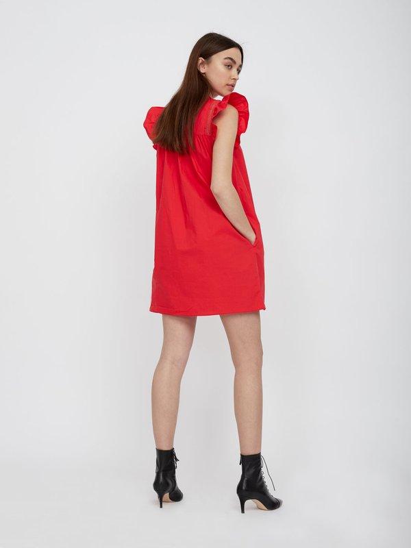 Платье с декоративными воланами вид сзади