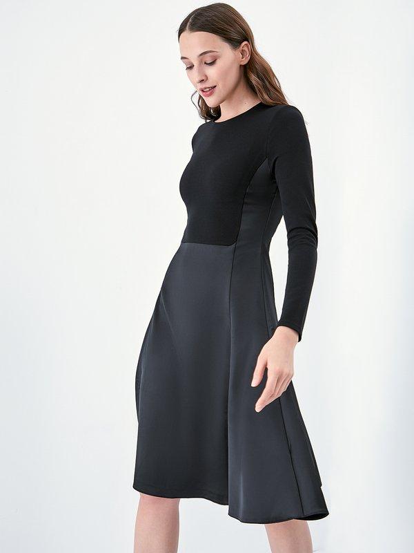 Комбинированное платье из экокожи