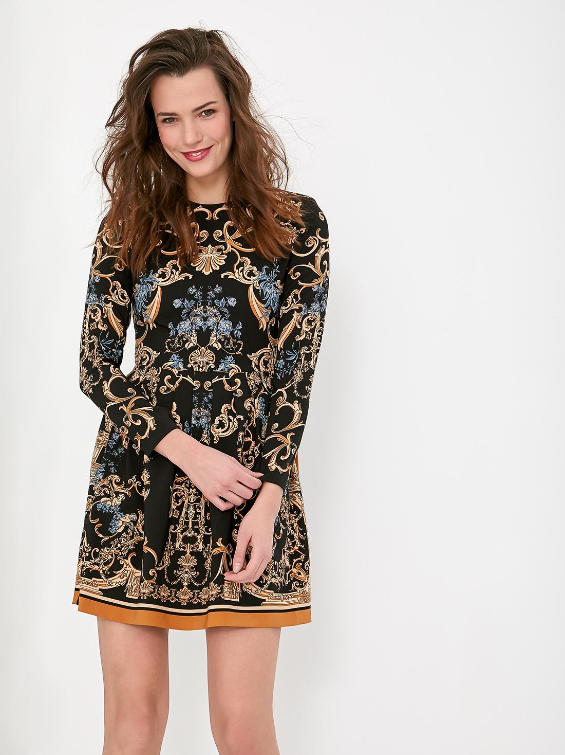 Платье с принтом и окантовкой