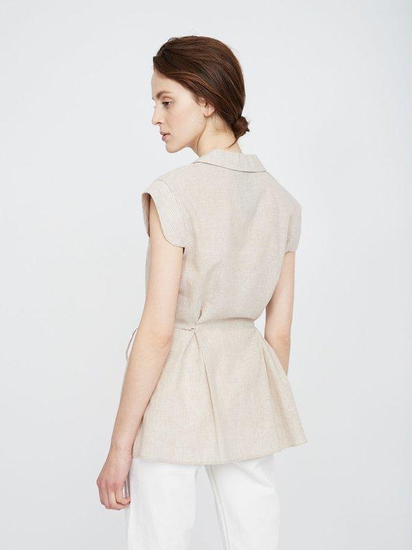 Удлиненная рубашка из льна и хлопка вид сзади