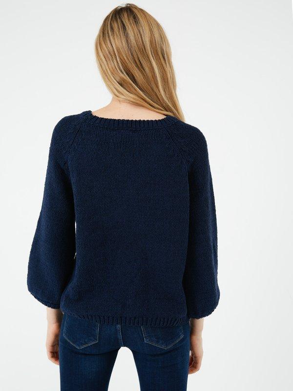 Джемпер из синели вид сзади