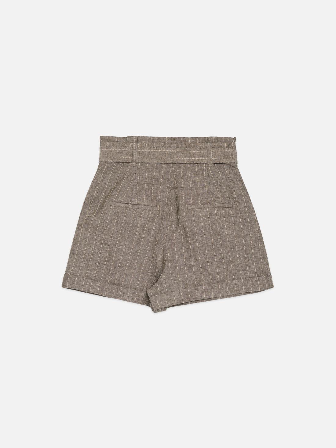 Расклешеные шорты из льна и хлопка