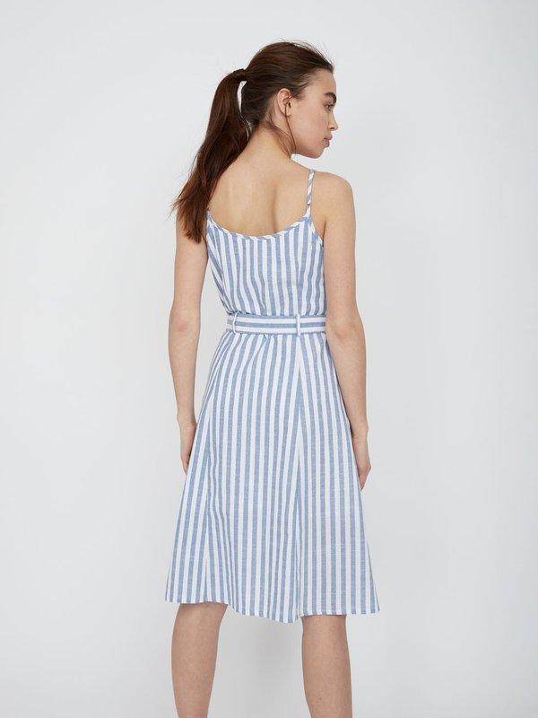 Платье-миди в полоску вид сзади