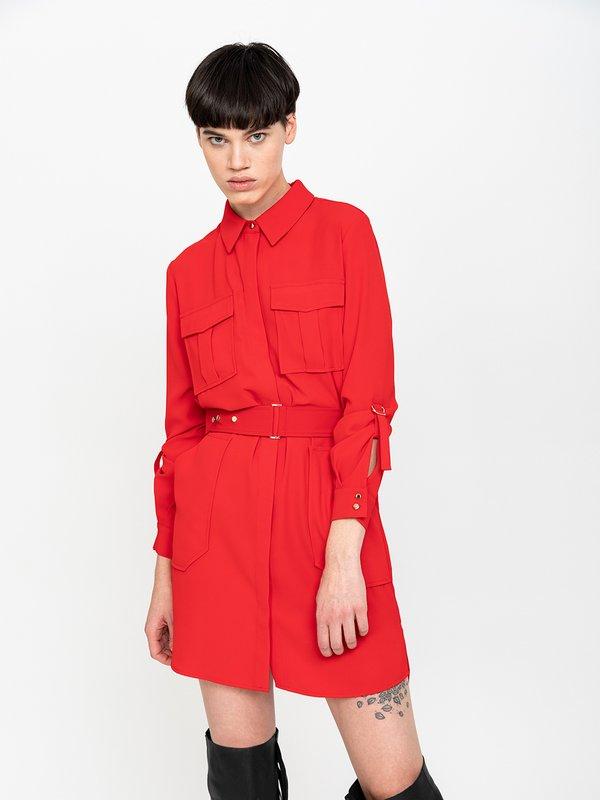 Платье с карманами цвет: красный