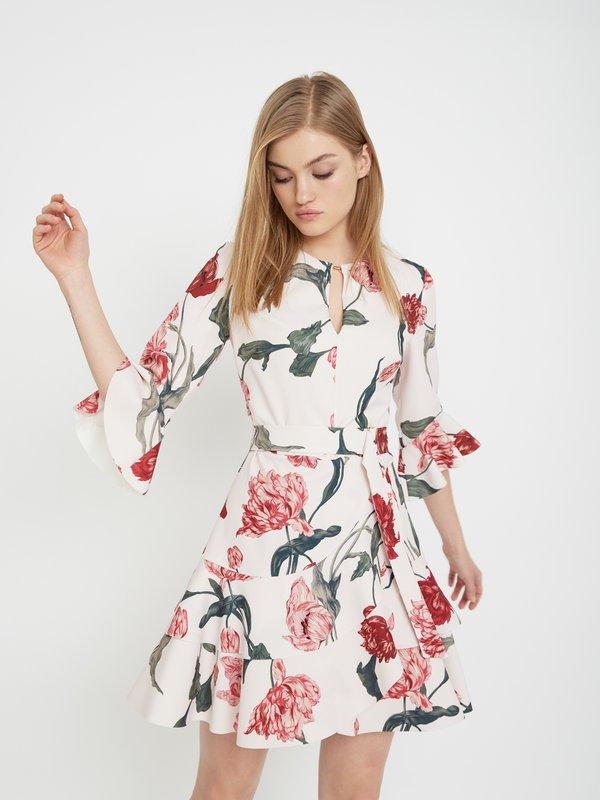 Платье с асимметричной юбкой цвет: молочный