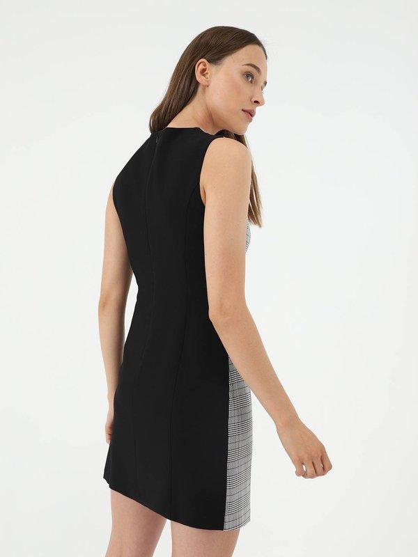 Платье из комбинированной ткани вид сзади