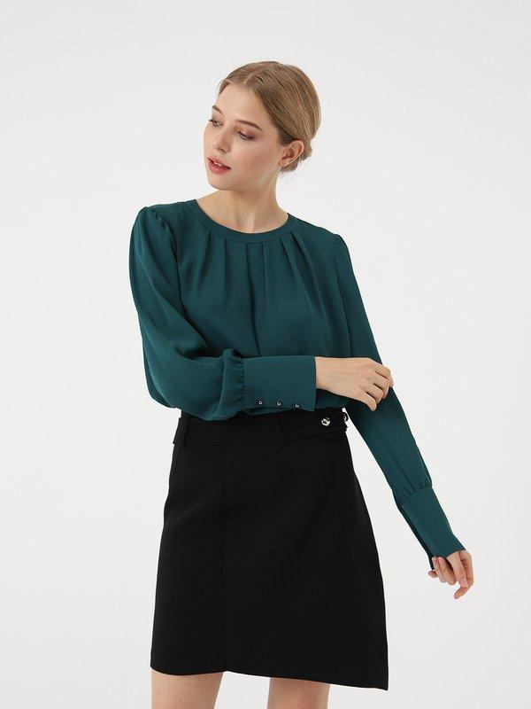 Блузка с длинным рукавом цвет: изумрудно-зеленый