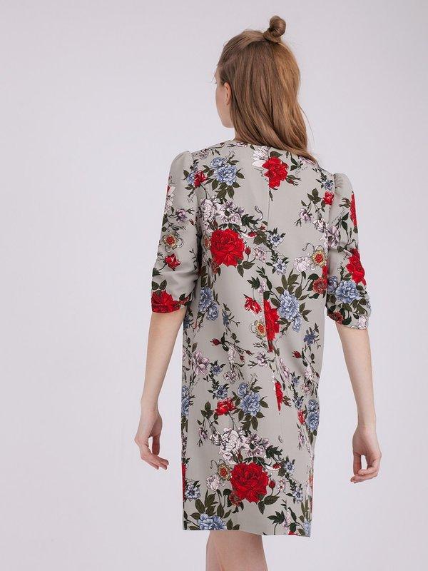 Платье с растительным принтом вид сзади