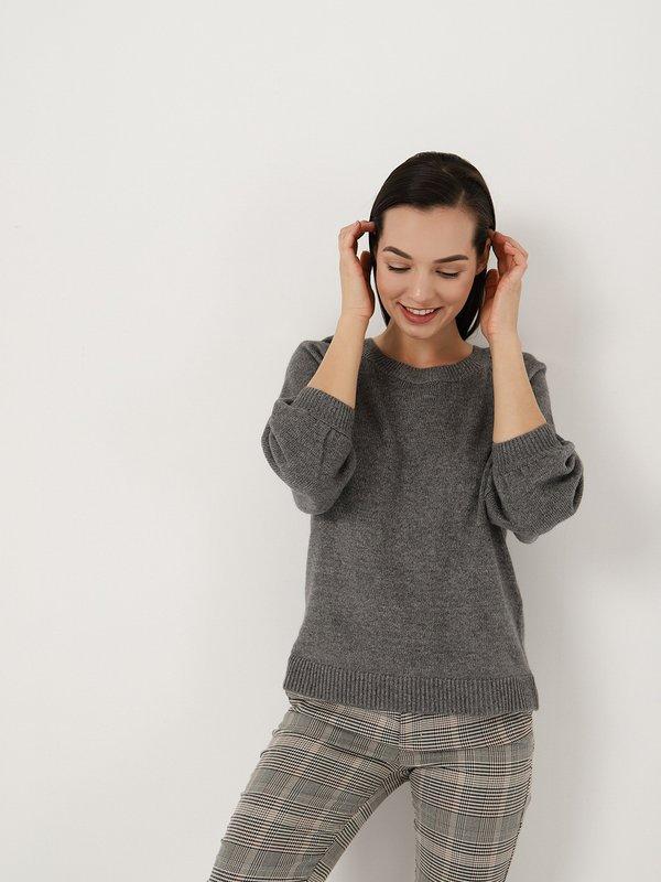 Джемпер с объемными рукавами цвет: серый меланж