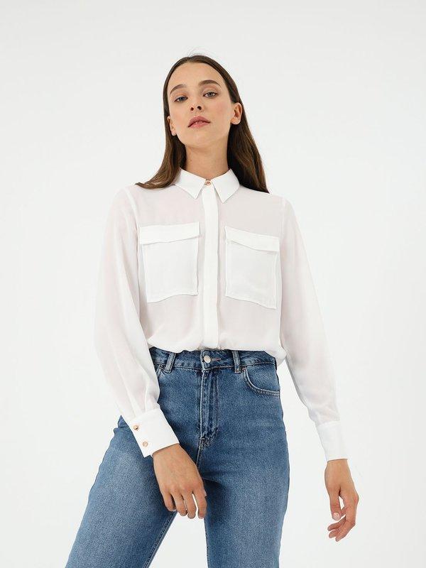 Рубашка с карманами цвет: молочный