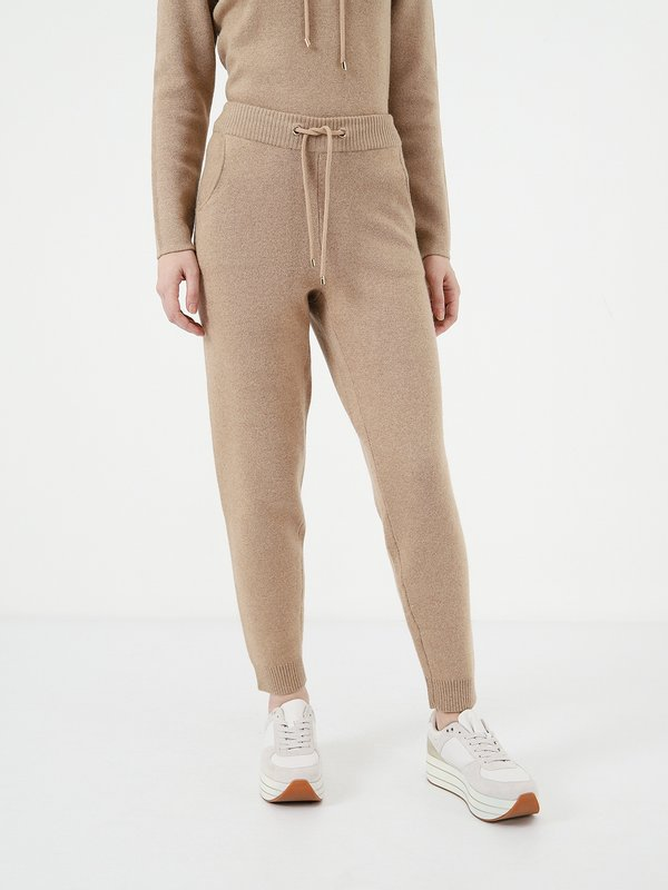 Свободные трикотажные брюки цвет: бежевый меланж