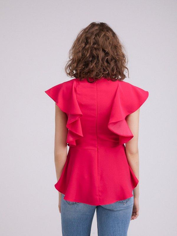 Блузка с воланами и баской вид сзади