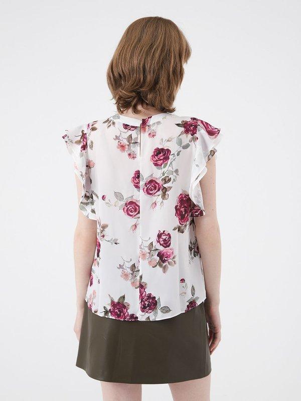 Блузка с цветочным принтом  вид сзади