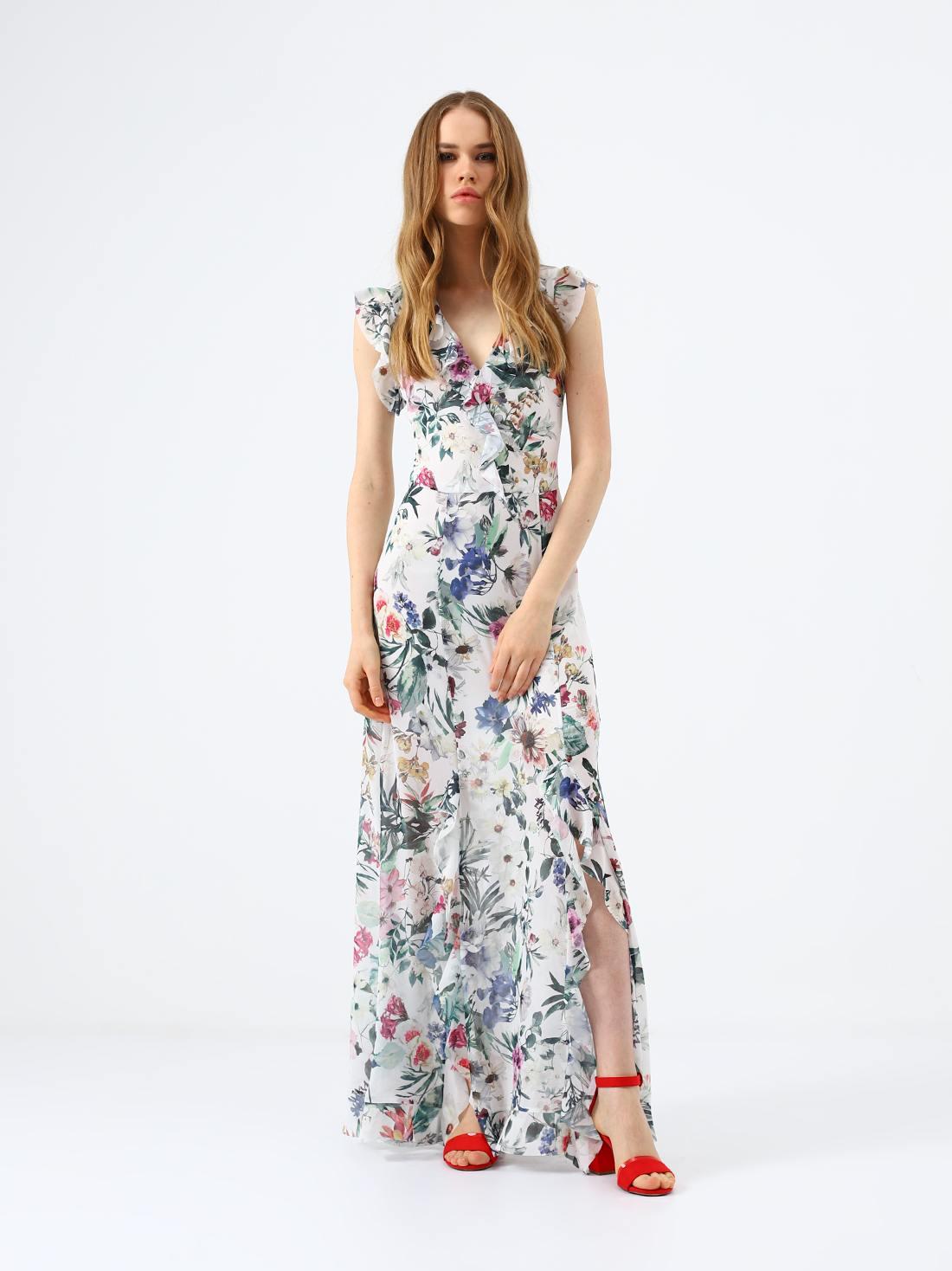 Платье-макси с растительным принтом