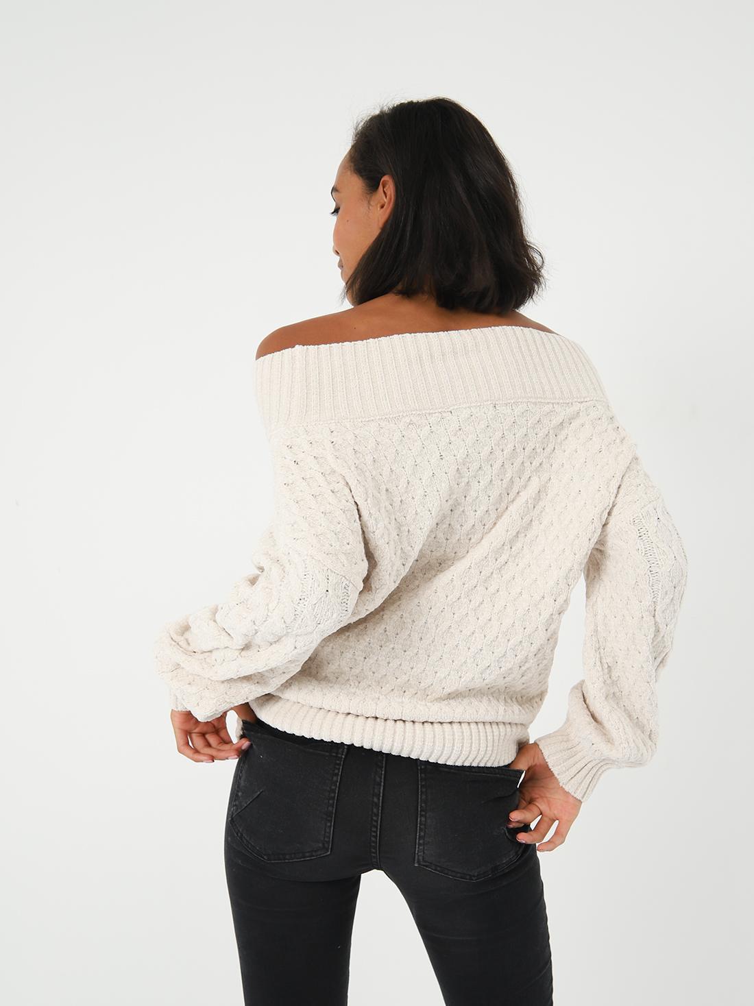Джемпер с открытыми плечами