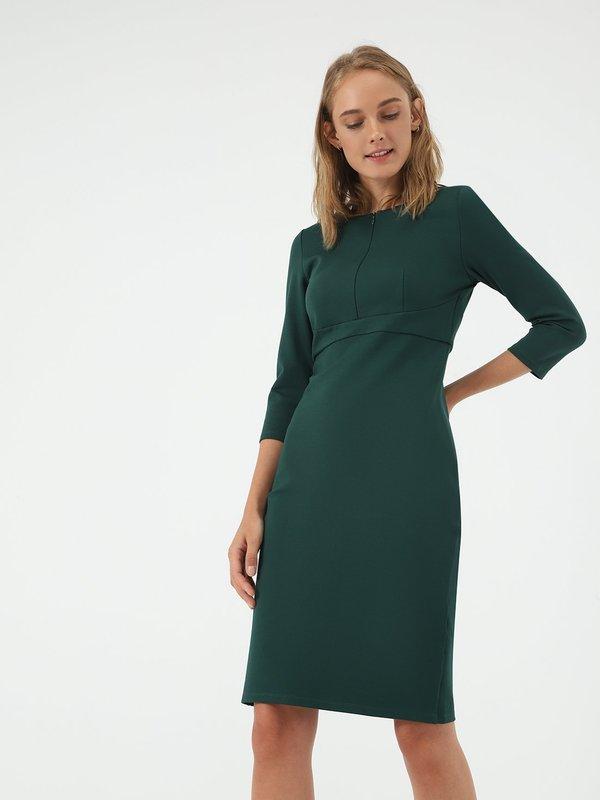 Платье - миди на молнии цвет: изумрудный
