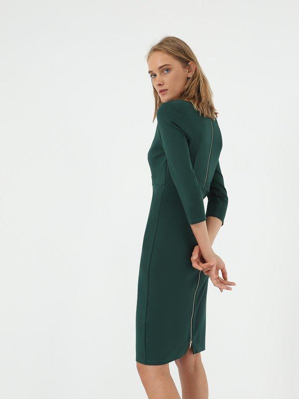 Платье - миди на молнии вид сзади