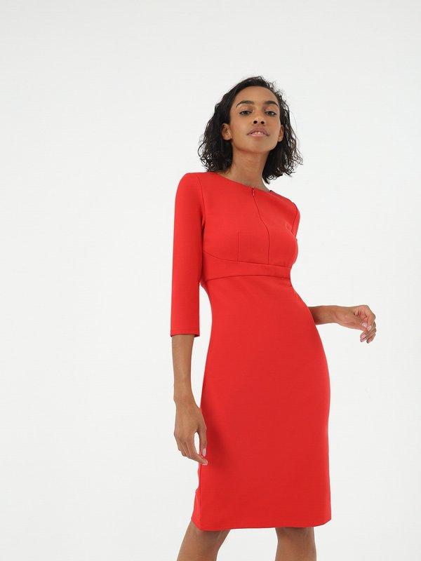 Платье - миди на молнии цвет: красный
