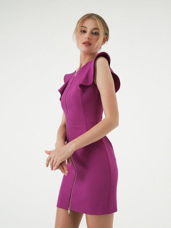 Платье с воланами  цвет: сиреневый