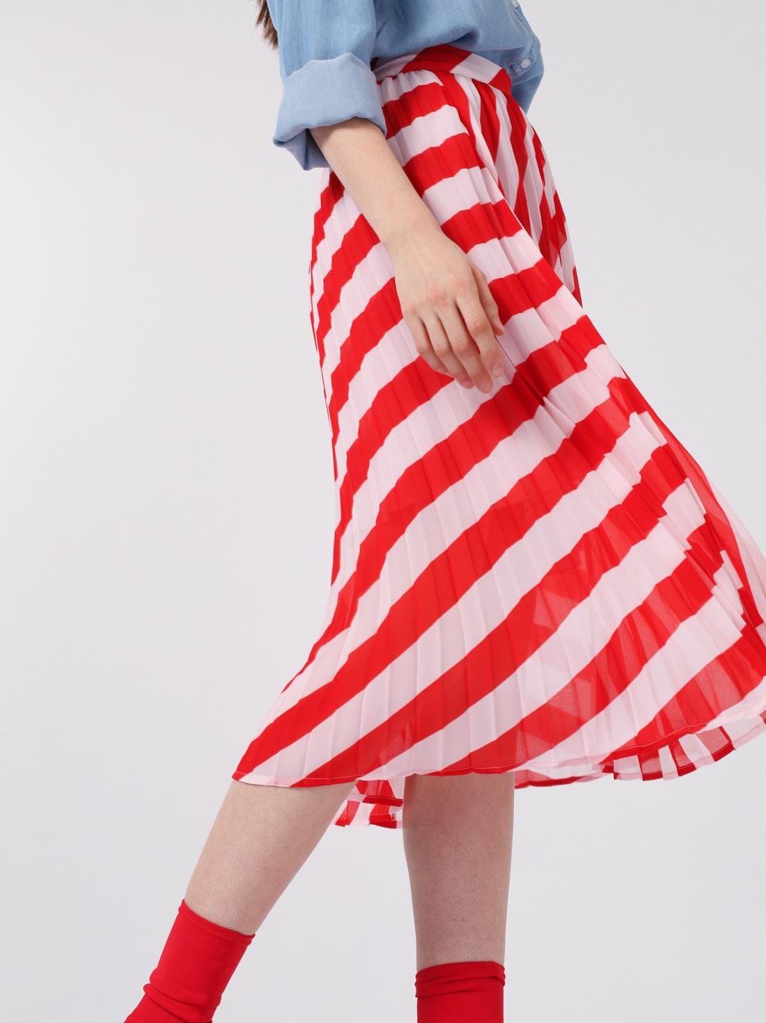 Плиссированная юбка в полоску