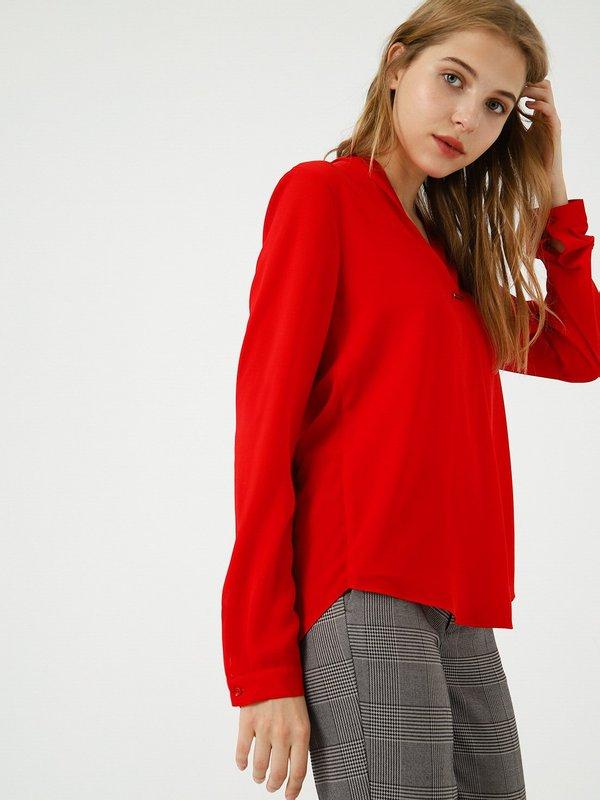 Блузка с V - образным вырезом цвет: красный
