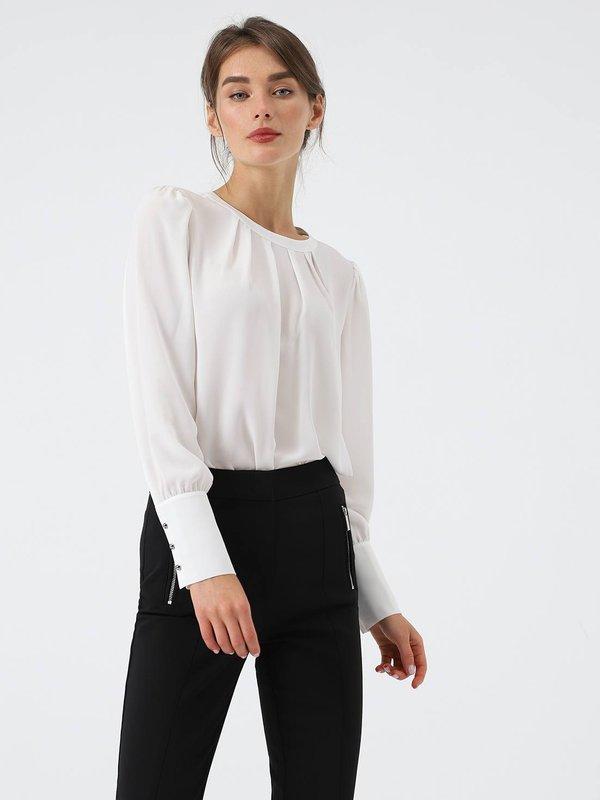 Блузка с длинным рукавом цвет: молочный